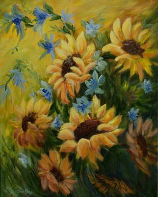 Black Eye Susan Painting - Sunflowers Galore by Joanne Smoley