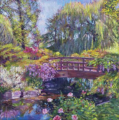 Footbridge Painting - Spring Bridge by David Lloyd Glover