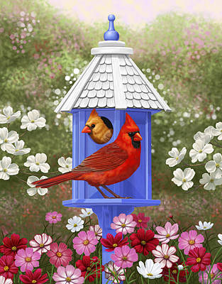 Red Flowers Digital Art - Spring Cardinals by Crista Forest