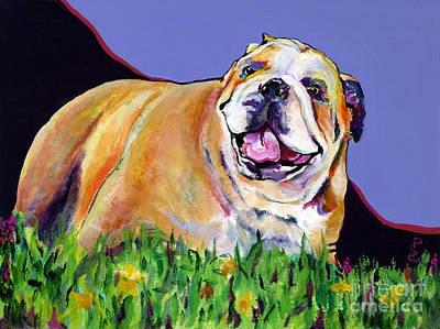 English Bulldog Painting - Spring Fever by Pat Saunders-White