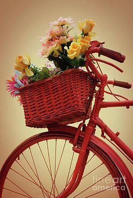 Spring Flower Bike Print by Carlos Caetano