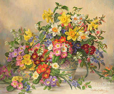 Stalk Painting - Spring Flowers And Poole Pottery by Albert Williams
