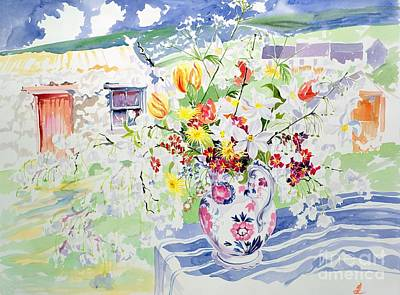 Pottery Painting - Spring Flowers On The Island by Elizabeth Jane Lloyd