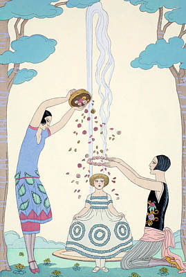 Shower Drawing - Spring by Georges Barbier