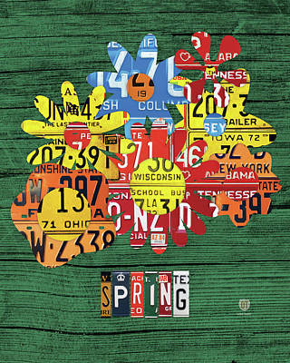 Floral Mixed Media - Spring Has Sprung Recycled Vintage Colorful Flowers License Plate Art by Design Turnpike