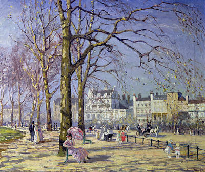 Park Oil Painting - Spring In Hyde Park by Alice Taite Fanner