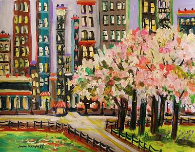 Simplicity Drawing - Spring In The City by John Williams
