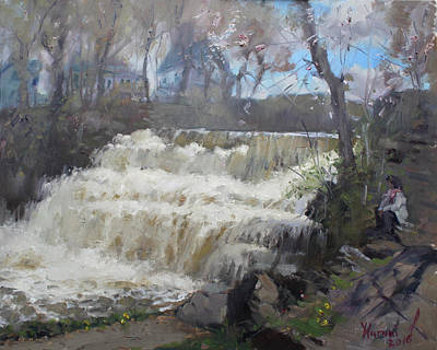 Fall Of River Painting - Spring In Williamsville Falls by Ylli Haruni