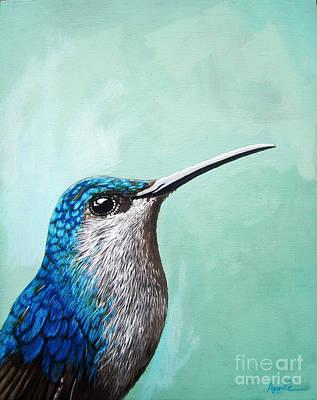 Spring Is Humming - Hummingbird Painting Print by Linda Apple
