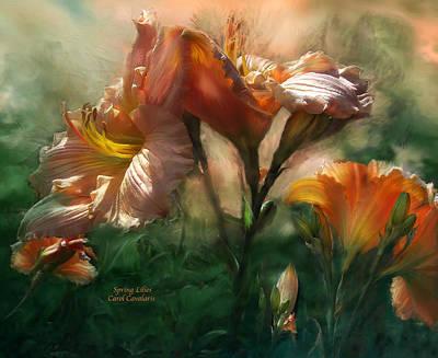 Lilies Mixed Media - Spring Lilies by Carol Cavalaris