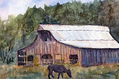 Spring On The Farm - Rural Watercolor Landscape Original by Barry Jones