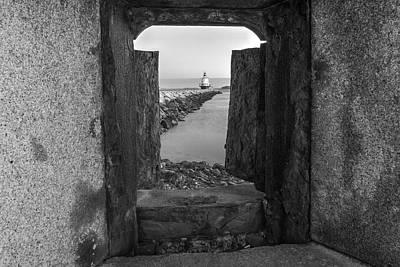 Ledge Photograph - Spring Point Ledge Light House Bw by Susan Candelario