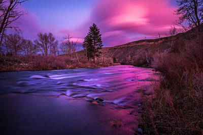 Spring Sunset Along The Truckee River Reno Nevada Print by Scott McGuire