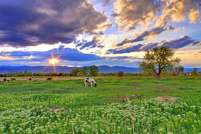 Colorado Sunset Photograph - Spring Sunset Over The Rockies by Scott Mahon