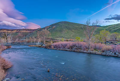 Spring Twilight Along The Truckee River Reno Nevada Print by Scott McGuire