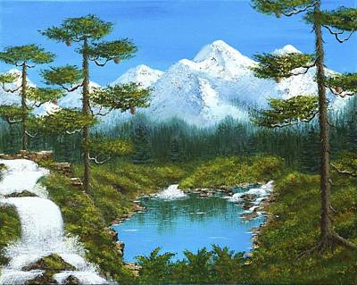 Bob Ross Painting - Spring Waterfall In The Mountains by Larysa Kalynovska