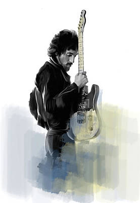 Springsteen Bruce Springsteen Print by Iconic Images Art Gallery David Pucciarelli