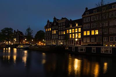 Springtime Amsterdam - Golden Windows In Jordaan Print by Georgia Mizuleva