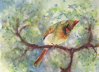 Cardinals In Watercolor Painting - Springtime Female Cardinal Watercolor by CheyAnne Sexton