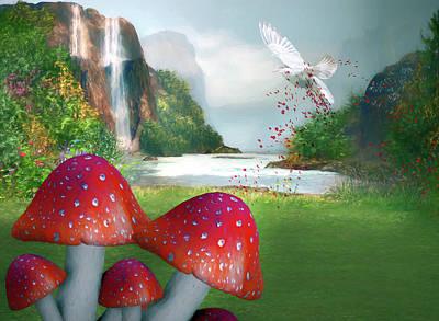 Mushroom Mixed Media - Sprinkling Red Magic by Georgiana Romanovna