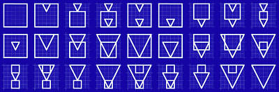 Squangle Alphabet Grid Blueprint Print by Coded Images