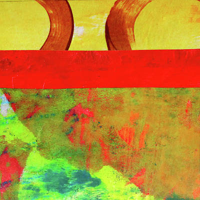 Red Abstract Mixed Media - Square Collage No. 11 by Nancy Merkle