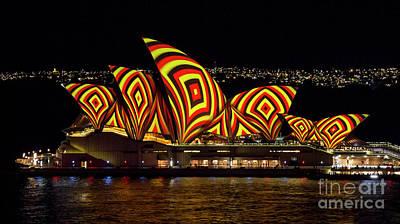 Photograph - Square Sails - Sydney Opera House - Vivid Sydney by Bryan Freeman