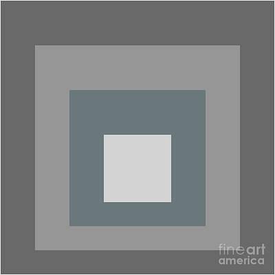 Op-art Digital Art - Squares_i_grey by Peter  Schoenbohm