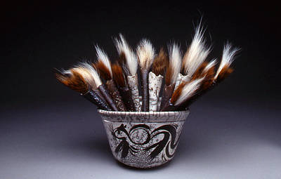 Ceramic Mixed Media - Squirrel Brush Bouquet by Glenn  Grishkoff