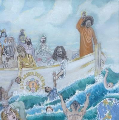 Baba Painting - Sathya Sai Baba S.s.s. Sarva Dharma by Sonya Ki Tomlinson