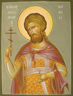Byzantine Icon Painting - St Alexander Nevsky by Julia Bridget Hayes
