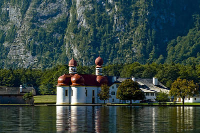 Photograph - St. Bartholomew's Church At Lake Konigssee, Berchtesgaden by Frank Tschakert