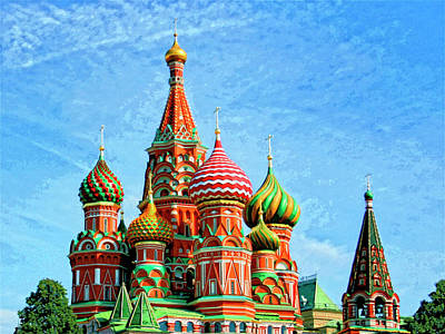 Moscow Mixed Media - St. Basil's Cathedral Moscow by Dominic Piperata