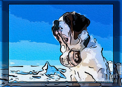 St Bernard And A Mountain Dog Abstract Painting Print by Omaste Witkowski