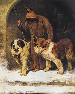 St. Bernards To The Rescue Print by John Emms