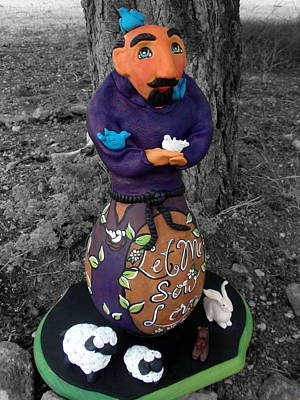 Polymer Clay Painting - St. Francis Sculpture by Jan Oliver-Schultz