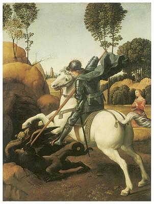St. George And The Dragon Print by Raffaello Sanzio