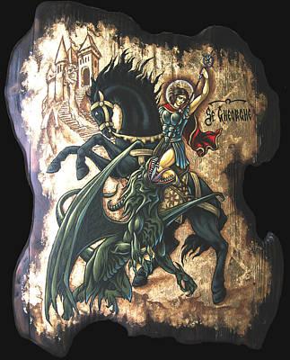 st George fighting the Dragon Print by Iosif Ioan Chezan