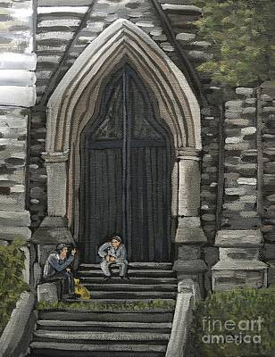 Quebec Streets Painting - St Georges Parishioners by Reb Frost