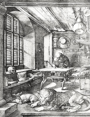 Cardinal Drawing - St Jerome In His Study by Albrecht Durer or Duerer