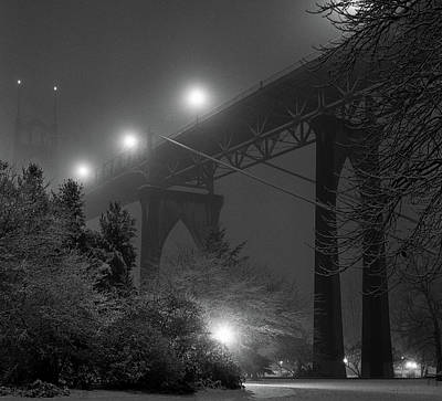 Illuminated Photograph - St. Johns Bridge On Snowy Evening by Zeb Andrews