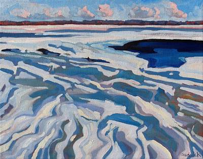 Canoeist Painting - St Lawrence Ice Waves by Phil Chadwick