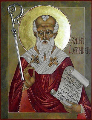 Byzantine Icon Painting - St Leander by Mary jane Miller