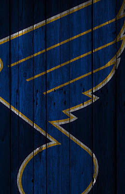 Hockey Digital Art - St Louis Blues Wood Fence by Joe Hamilton