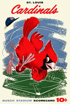 Major League Baseball Painting - St. Louis Cardinals Vintage 1958 Scorecard by Big 88 Artworks