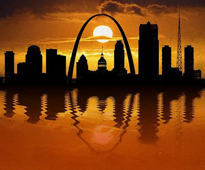 St. Louis Mixed Media - St Louis Sunset Skyline Reflection by Dan Sproul