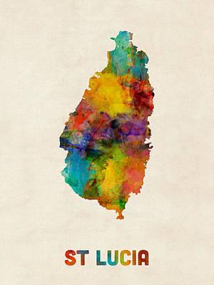 Latin America Digital Art - St Lucia Watercolor Map by Michael Tompsett