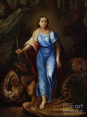 St. Margaret Slaying The Dragon Print by MotionAge Designs