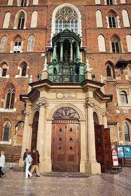St Mary Basilica Main Door In Of Krakow Print by Artur Bogacki