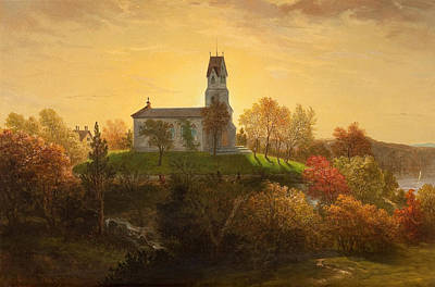 Louis Lang Painting - St Mary's In The Highlands Garrison New York by Louis Lang